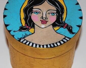 Original Hand Painted Folk Art Trinket Box