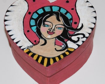 Original Hand Painted Folk Art Valentine Heart Trinket Box
