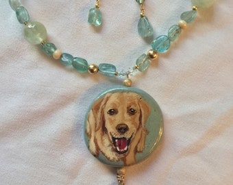 634664c2f Hand Painted Yellow Labrador Labrador Pendant Necklace and Earrings  Aquamarine Gold Filled Swarovski Crystals