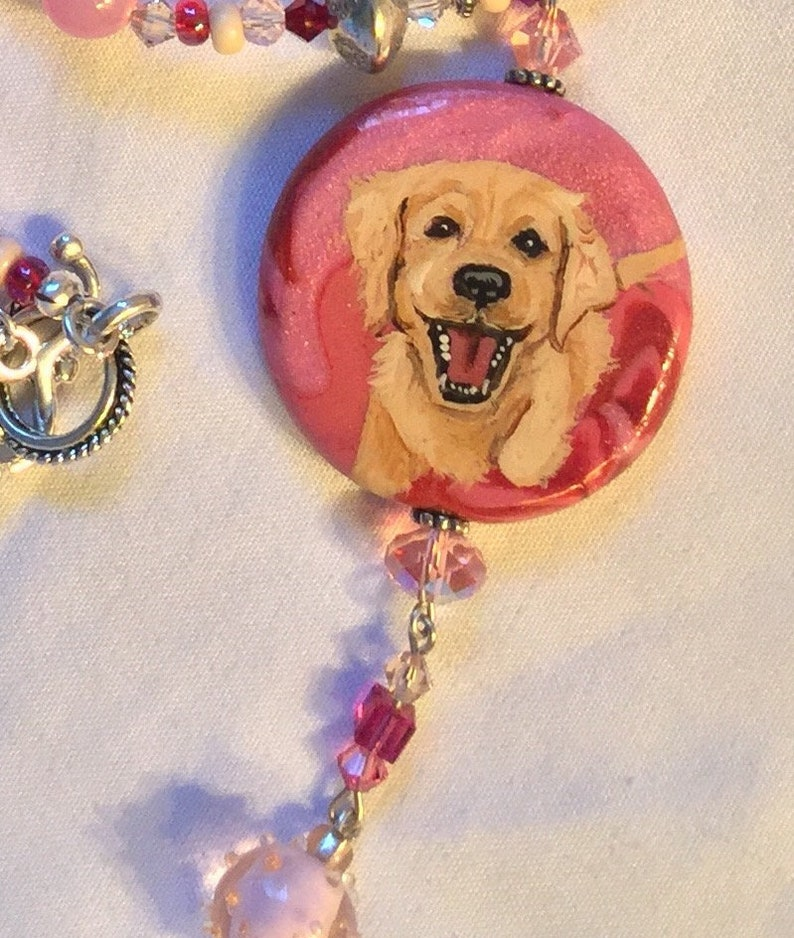 c58d41c13 Hand Painted Golden Retriever Puppy Necklace with Swarovski   Etsy
