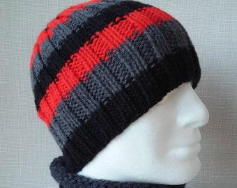 STRIPED HAT PATTERN Mens Beanie Knitting Pattern Birthday Gift for Him Boyfriend Beanie Handmade Knit Hat Digital Download Gift for Men /Sam
