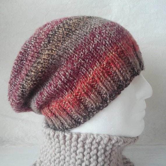 Mens Knitting Pattern Slouchy Beanie Hat Pattern Gift For Him Etsy