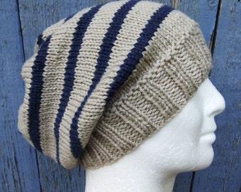 KNITTING PATTERN/CAMPUS Mans Striped Slouch Hat / Mans Striped Beanie Pattern/ Striped Hat Pattern/ Mans Striped Hat Toque Aran /Knit Round