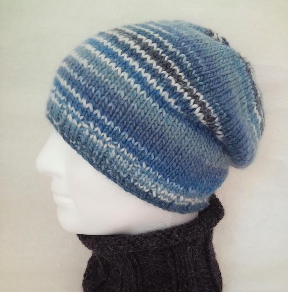 Knitting Pattern Mens Slouch Hat Gift For Him Boyfriend Beanie Etsy