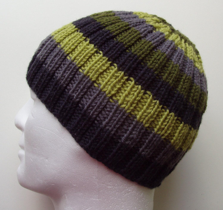 566852b8025 KNITTING PATTERN Mens Striped Rib Hat Knit Flat Knit Beanie