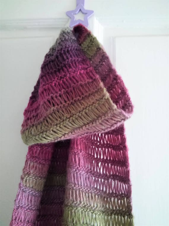 Knitting Pattern For Murrisk Scarf Long Openweave Multicolor Etsy