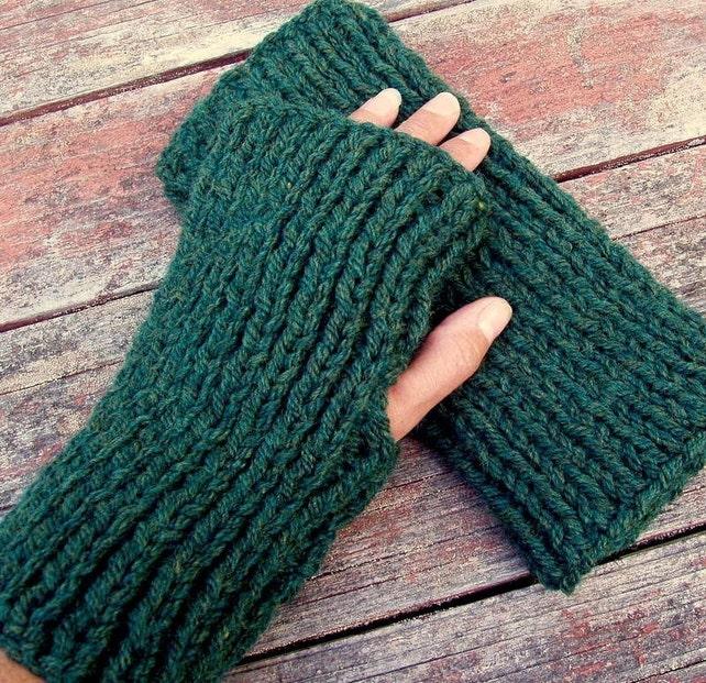 Mens Fingerless Gloves Knitting Pattern Chunky Yarn Gift For Etsy