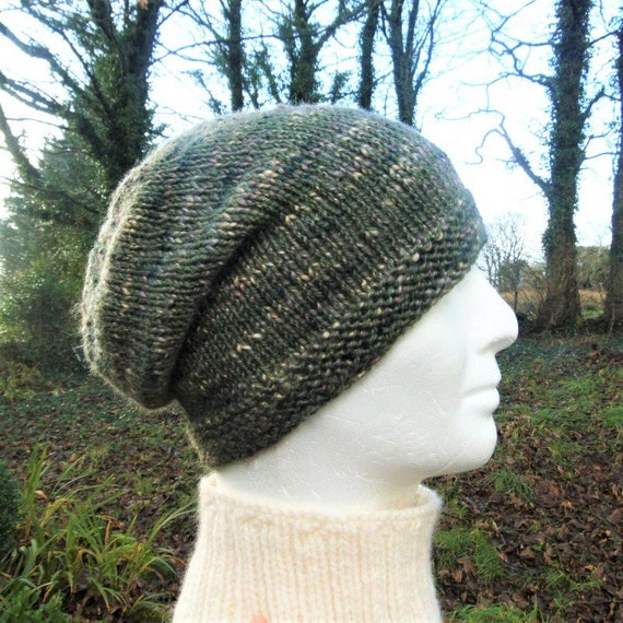 Easy Slouchy Beanie Knitting Pattern Mens Hat Pattern Simple Etsy