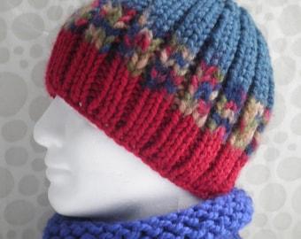KNITTING PATTERNS Chunky Yarn Beanie Gift for Him Boho Boyfriend Gift for Birthday Husband Gift Digital Download Knit Hat BASIL