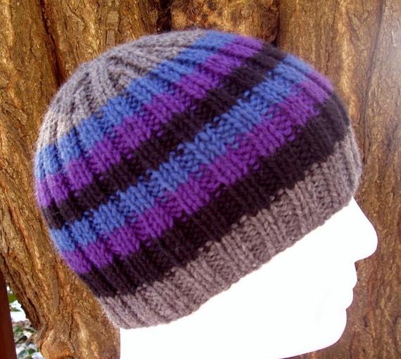 3b7ca98a818 KNITTING PATTERN FINN Mans Striped Rib Hat Knit Round Stripe