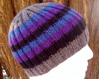KNITTING PATTERN/FINN  Mans Striped Rib Hat/Knit Round/Stripe Hat Pattern/Mans Beanie Pattern/Winter Hat Pattern/Gift for Him/Boys StripeHat