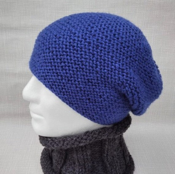 Mens Beanie Pattern Slouchy Hat Knitting Pattern Gift For Men Etsy