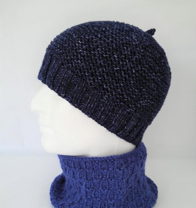 Mens Simple Beanie Knitting Pattern Easy Knit Hat Wool Knit Etsy