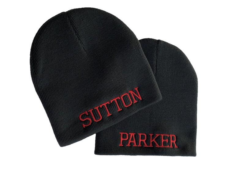 e027be8f84c3f Custom Embroidered Black Knit Cap Skull Beanie Hat