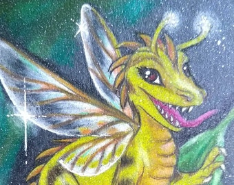 ACEO Original Colored Pencil Artwork, Dragon, Dragonfly, Firefly, Fairy, Pixie, Insect, Miniature, Whimsical, Honeybee, Bumblebee