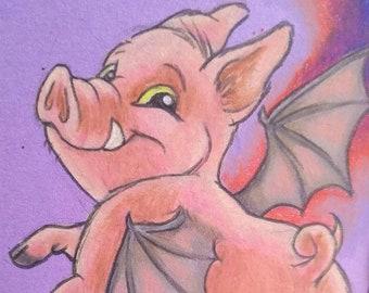 ACEO, Original, Halloween, Halloween Art, Flying Pig, Bat, Spooky, Pig Art, Fall Decor