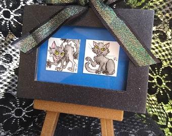 Halloween Black Cats, Watercolor Inchies, Inchie Set, Spooky Cats, Boo Kittens, Cute Kitties, Framed Miniature Art
