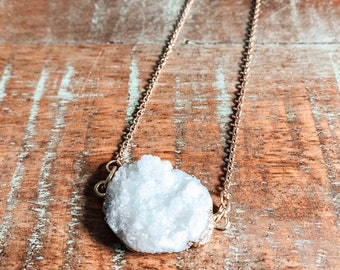 Clear Druzy Quartz Necklace - Boho Style - Crystal Necklace - Holistic Healing - Layering Necklace - Handmade by Kylene Marie Designs
