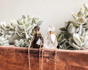 Perfume Bottle Necklace - Essential Oil Vial Necklace - Perfume Necklace - Quartz Necklace - Gifts for Her -Handmade by Kylene Marie Designs