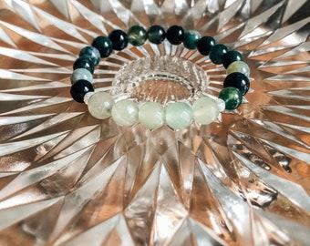 Gemstone Bracelet  - Moss Agate and Aventurine  - Green Moss Agate - Green Aventurine - Holistic Healing -Handmade by Kylene Marie Designs
