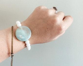 Gemstone Bracelet - Pale Blue Agate Druzy Round Disc with Matte White Onyx Beads - Boho - Holistic Healing -Handmade by Kylene Marie Designs