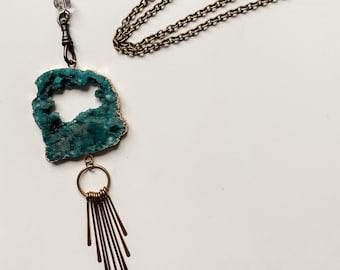 Druzy Fringe Necklace - Agate Slice - Boho Style - Art Nouveau - Steam Punk - Brass Fringe - Crystal - Handmade by Kylene Marie Designs