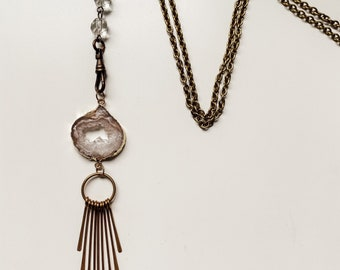 Druzy Fringe Necklace - Boho Style - Art Nouveau - Vintage Jewelry - Agate - Brass Fringe - Crystal - Handmade by Kylene Marie Designs