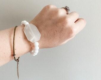Gemstone Bracelet - Faceted Moonstone with Matte White Onyx Beads - Boho - Aromatherapy -Holistic Healing - Handmade by Kylene Marie Designs