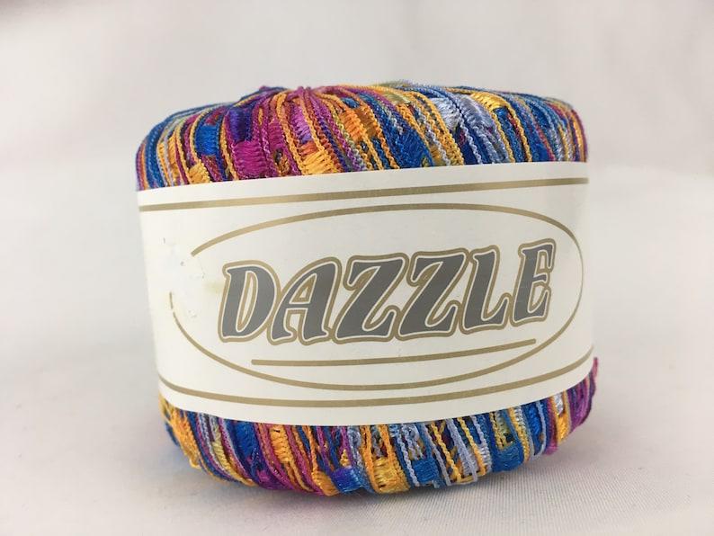 Dazzle Ladder Yarn yellow light blue dark blue pink