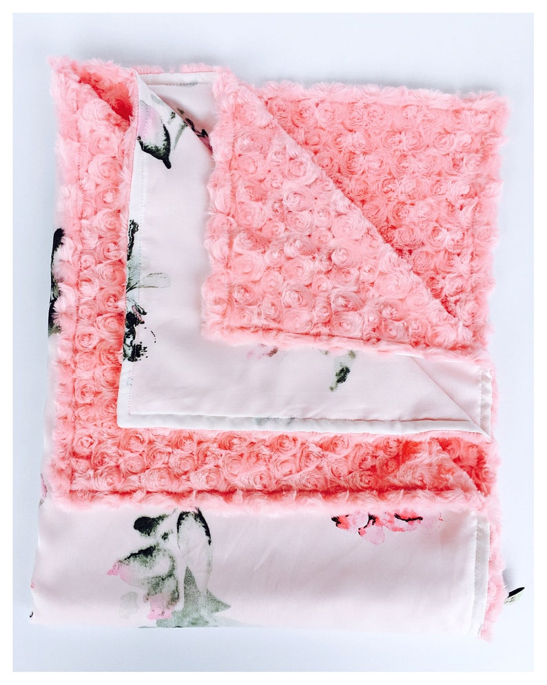 gorgeous baby shower gift BABY mini lovey security BLANKET satin print with minky swirls   Floral print on white  background
