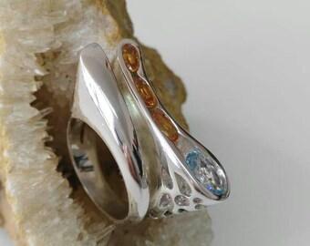 Silver ring 925 with spersatite, mandarin garnet and blue topaz-orange-handcraft-art-arte-contemporaneo-contemporary-blue-azul-naranja
