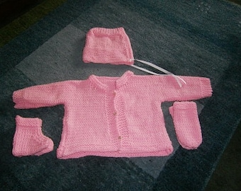 Infant Sweater ,Hand Knit, Pink, Size 6-12 Months, Complete Baby Set, Hat, Booties, Sweater, Mittens, Ready To Ship,