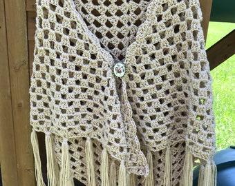 Beige Crochet Granny Shawl, Hippie 70's Shawl, Boho Shawl