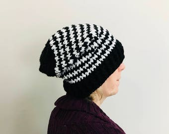 Houndstooth crochet slouchy hat, black and white slouchy hat