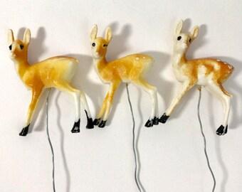Vintage Christmas Deer Pick Set of 3, Plastic Deer Pick