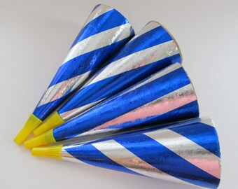 Vintage Cardboard Party Horns/ Set of 4/ Silver Blue Patriotic Noisemakers