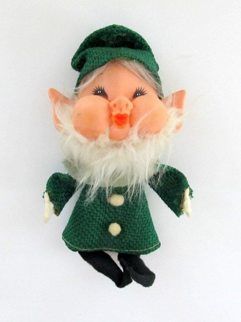 fa40e832a74bf Vintage Green Burlap Elf Pixie  Christmas Knee Hugger KneeHugger Elf ...
