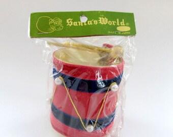 Vintage Patriotic Drum Ornament NIP/ Vintage July 4th Ornament/ Christmas Drum