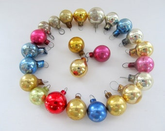 Vintage Mercury Glass Bead Ornaments Set of 23/ Miniature Glass Ornaments Feather Tree