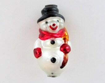 Czech Glass Garland Bead / Jumbo Bead Frosty the Snowman/ Christmas Garland Mercury Glass