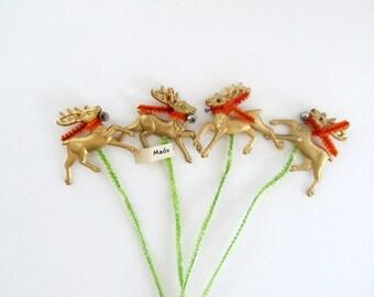 Vintage Christmas Reindeer Picks, Set of 4, Vintage Deer, Made in Japan