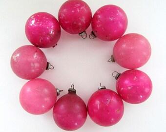Vintage Pink Christmas Ornament Glass Ornaments/  Mini Pink Glass Ball Ornament Set of 9/ Mini Feather Tree Ornament