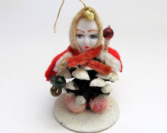 Vintage Pinecone Elf Ornament/ Pine Cone Gnome Ornament/ Made in Japan