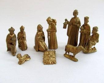 Vintage Nativity Scene, Miniature Collection, Holiday Decor, Religious Christmas Decor, Miniature Manger Scene