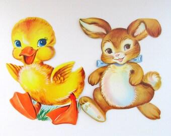 Vintage Dennison Cardboard Cutout/ Die Cut Duck and Bunny Rabbit Decoration Set of 2