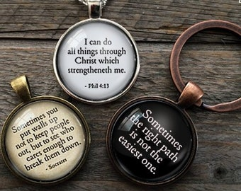 Etsy gift pendant necklace jewelry keychains by homestudio on etsy your own quote necklace custom quote jewelry personalize a necklace personalized jewelry inspiring words favorite motto keychain aloadofball Images