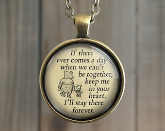 Winnie The Pooh Necklace, FOREVER In Your Heart, Friendship Jewelry, Inspiration, Key Chain, Friendship Quote, Mother Gift, Missing You,Love