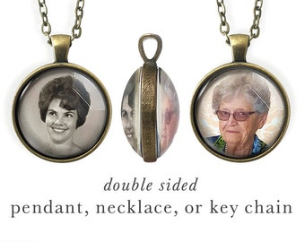 Double Sided, Photo Necklace In Memory, Custom Photo Jewelry, Personalized Key Chain, Picture Necklace, Grandma, In Memory Jewelry, Kids