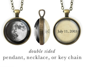 Double Sided, Custom Moon Jewelry, Personalized Key Chain, Own Quote Jewelry, Inspiring, Baby, Birth, Memory, Moon Phase, Words, Memorial