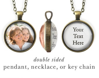 Double Sided, Custom Quote Jewelry, Personalized Key Chain, Own Quote Jewelry, Inspiring, Baby, Grandma, Memory, Photo, Words, Memorial